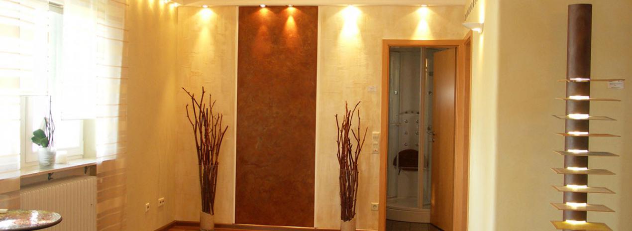 moderne Wandgestaltung, fugenlose Wände, Lasuren, Streichputz, metallic
